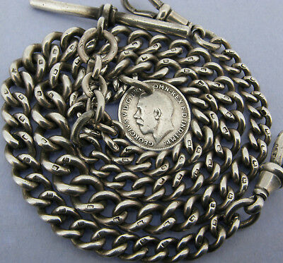 Antique Solid Silver Double Watch Albert Chain T-Bar & Coin Fob 16 ¾ inch 1901