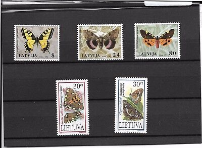 Papillons - Lettonie 1996 + Lithuanie 1995 - Neufs ** (MNH)