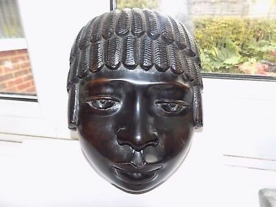 HEAVY HAND CARVED TRIBAL AFRICAN EBONY WALL FACE MASK SCULPTURE CARVING 1.24 Kg