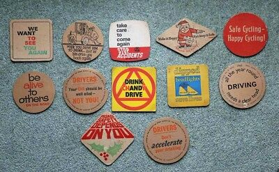 "very rare set of 12 vintage ""road safety"" beer mats from the 1960s"