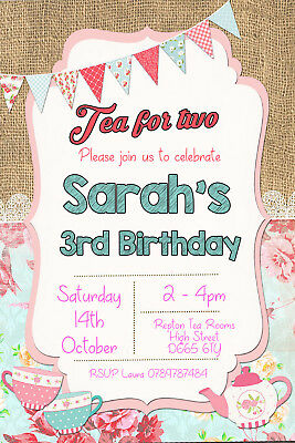 Personalised Tea for Two Afternoon Tea Party Birthday Invites inc envelopes B115