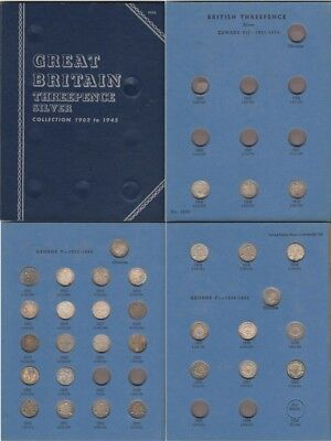 SILVER THREEPENCE COLLECTION 32 out of 43 COINS  IN WHITMAN 1902-1945 ALBUM