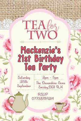 Personalised Tea for Two Afternoon Tea Party Birthday Invites inc envelopes B117