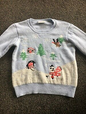 Next girls light blue embroidered snow flake christmas scene jumper 7-8yrs.