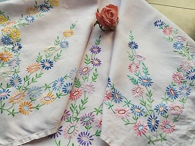 Vintage Hand Embroidered Tablecloth with Flowers
