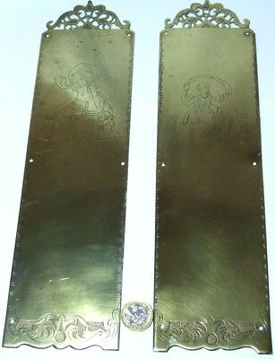 Pair Antique Engraved Brass Fancy Door Finger Plate Edwardian Classical Figures