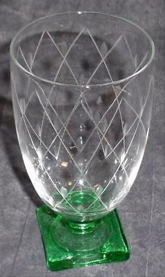 Beautiful Depression Glass Footed Juice Glass - ETCHED CROSS & LEAF PATTERN