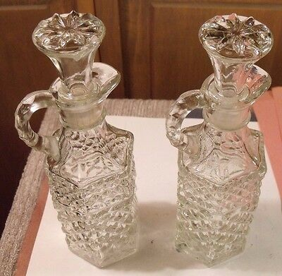 Vintage 2 Cruets Miss America Pattern Anchor Hocking Oil & Vinegar Perfect Mint!