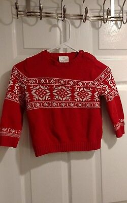 Hanna Andersson Red Fair Isle Boys Christmas Sweater, size 100