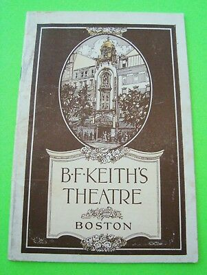 1922 B.F. KEITH'S THEATRE Boston VAUDEVILLE PERFORMANCES 36-pgs VELIE MOTOR CAR