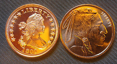 2 AVDP oz Copper Round .999 uncirculated coins.