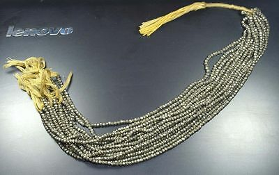 "3 Mm - 4 Mm 13"" 100% Natural Aaa 10 Lines Of Pyrite Untreated Beads Strand"
