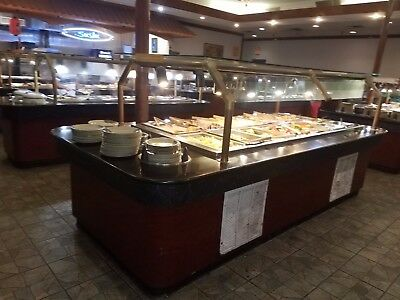 """Lot of 2 REFRIGERATED Cold Buffet Lines Salad Bar 11'6"""" long"""