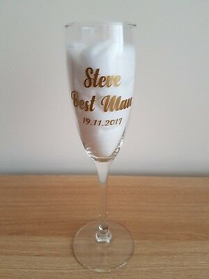 Personalised Wedding Bridal Party vinyl decals for Champagne Glass Wine Glass