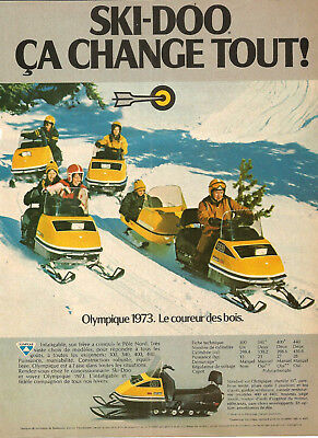 1973 Olympique Ski-Doo Snowmobiles Original Ad In French