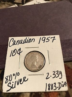 1957 Canadian 80 Percent Silver Dime