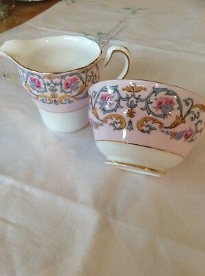Vintage Colclough Jug And Bowl Baby Pink With Florals