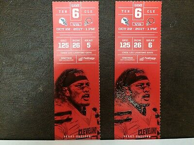2 Tennessee Titans @ Cleveland Browns tickets LL Corner 10/22  Sec. 125 Row 26