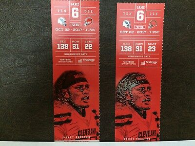 2 Tennessee Titans @ Cleveland Browns tickets LL sideline 10/22 Sec. 138 Row 31