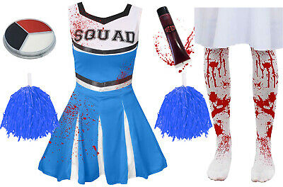 Childrens Kids Blue Zombie Cheerleader Girls Halloween Fancy Dress Costume