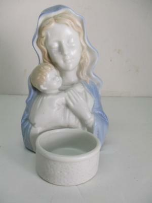 Virgin Mary Madonna and Child Porcelain With Votive Candle Holder CCCC Japan