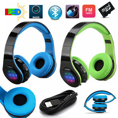 4in1 Faltbare Wireless/Wired Stereo LED Bluetooth Kopfhörer Headset FM SD 2Farbe
