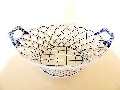 Antique Meissen Porcelain Bowl Basket Weave 24cm  Crossed Swords C.1890's