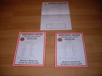 3 sheffield united youth team sheet  from the 80s with  free postage
