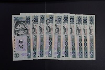 China 1990 $2 note UNC condition x 10 notes with minor toning BW prefix (v065)