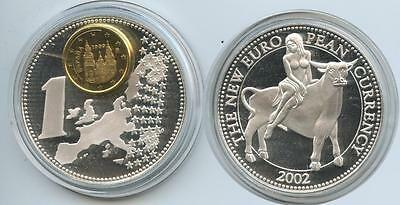 GY394 - Medaille Spanien mit 1 Cent New European Currency 2002 Europa & Stier