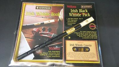 "Guinness Irish Black Penny ""D"" Whistle with Instruction - Irish Tin Whistle"