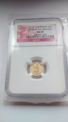 2012P Australia Year of the Dragon Gold Coin 1/20 oz Coin Graded as MS69 by PCGS