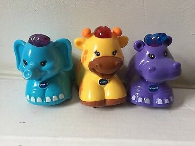 VTech Toot Toot Animals Set Of Three Giraffe Elephant And Hippo In Very Good Con