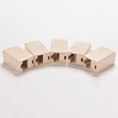 5X Network RJ45 Cable Joiner-Plug Coupler Extender Cat5 8P8C Cat6 F/F WH