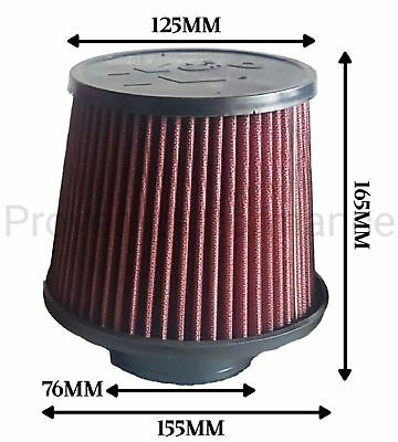 "Universal K&N air filter 76mm 3"" K and N"