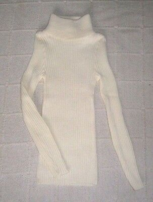 Vintage Ladybird Ribbed Polo-Neck Sweater - Age 6 - Cream - Acrylic - New