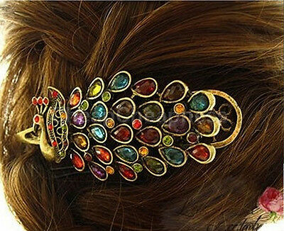 Lady Girl Vintage Peacock Tail Rhinestone Peacock Barrette Hairpin Hair Clip WH