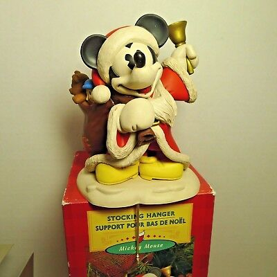 Hallmark Mickey Mouse Stocking Hanger Dressed as Santa With Bag of Toys and Bell