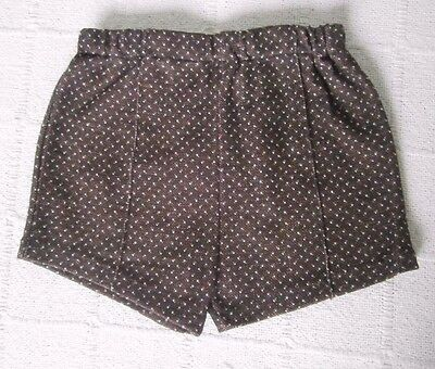 Vintage Stretch Shorts - Age 3 - Brown Spot  - Elastic Waist - New