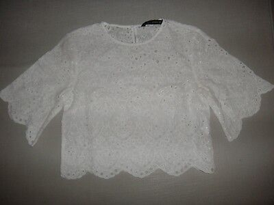Zara cropped white broderie lace scallop sleeve blouse top Size XS /UK 8 / EU 34