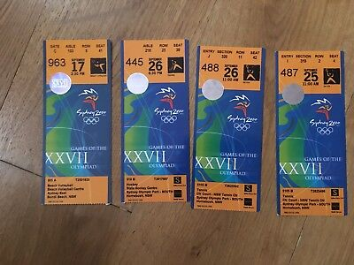 Collection 4 x 2000 Olympic Tickets Sydney - Tennis, Hockey, Beach Volleyball