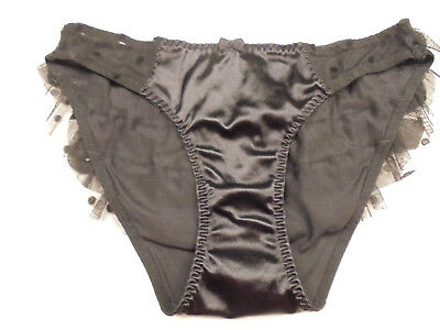 Vintage Victoria's Secret Second Skin Satin Bikini Panties with Ruffles Size S