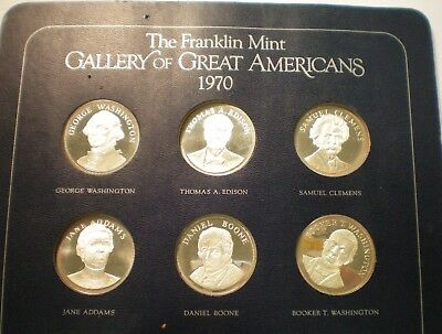 Franklin Mint 1970-71 Gallery Of Great American Sterling Silver 24 Pc Coin Set
