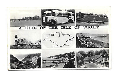 Isle Of Wight Tour - Shotters Coaches - Old 1955 Postmark Real Photo Postcard
