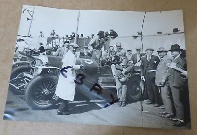 Rare Photograph 1927 Lemans 24 Hour Race Finish Old No 7 3 Litre Bentley