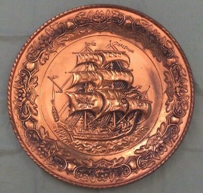 Vintage Brass Plate/Plaque With Sailing Ship Nautical - Hanging Plate (2)