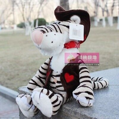 Cute 25 cm white Cowboy stripes tiger Stuffed Animals Plush toys baby doll toy