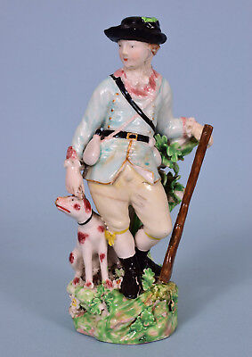C18th Derby Porcelain Figure of a Hunter with his Dog, c1780. (for restoration)