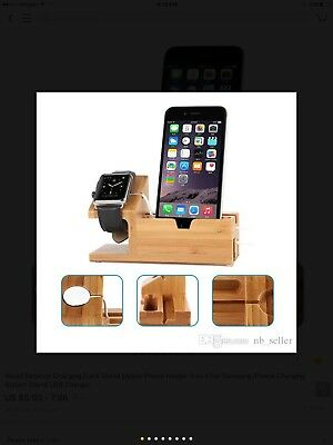Wood Desktop Charging Dock Stand Mobile Phone Holder 3 In 1 For Samsung Iphone.