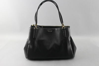 NWT $398 Coach Christie Carryall Bag in Crossgrain Black Leather Gold Hardware